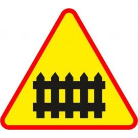Naklejka znak ostrzegawczy A-9 Przejazd kolejowy z zaporami