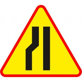 Naklejka znak ostrzegawczy A-12c Zwężenie jezdni - lewostronne
