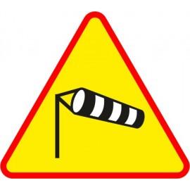 Naklejka znak ostrzegawczy A-19 Boczny wiatr