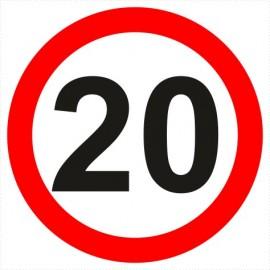 Znak drogowy B-33-20 ograniczenie prędkości (tu 20 km)