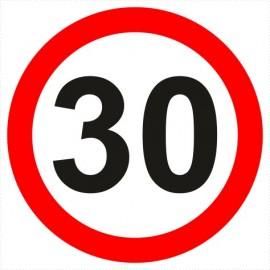 Znak drogowy B-33-30 ograniczenie prędkości (tu 30 km)