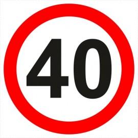 Znak drogowy B-33-40 ograniczenie prędkości (tu 40 km)