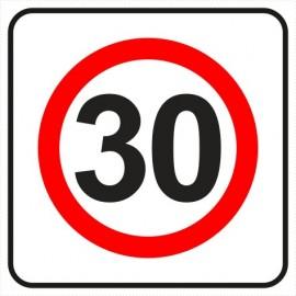 Znak drogowy B-43 strefa ograniczonej prędkości (tu 30 km)