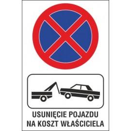 Naklejka zakaz zatrzymywania i postoju ZZP02 usunięcie pojazdu na koszt właściciela