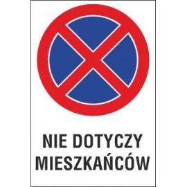Naklejka zakaz zatrzymywania i postoju ZZP14 nie dotyczy mieszkańców