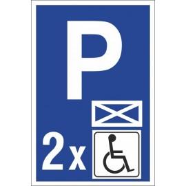 Naklejka znak parking P21 koperta 2 miejsca dla niepełnosprawnych