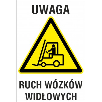 tabliczka Uwaga ruch wózków widłowych ZB10