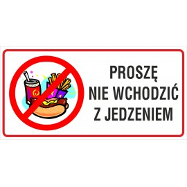 naklejka INL10 zakaz wchodzenia z jedzeniem