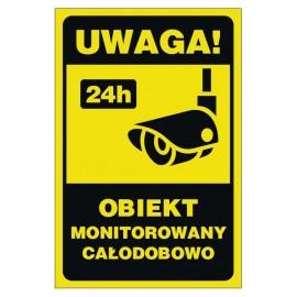 Tabliczka obiekt monitorowany 24h OME01 Uwaga obiekt monitorowany
