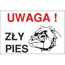 tabliczka zły pies ZP02 uwaga zły pies wściekły buldog