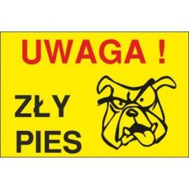 zły pies ZP05 uwaga zły pies stuknięty pies żółte tło