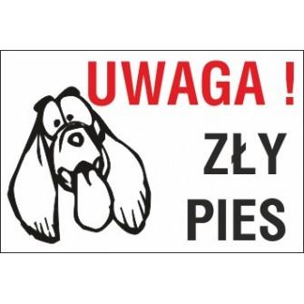 zły pies ZP06 uwaga zły pies tępy pies z długimi uszami