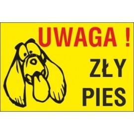 tabliczka zły pies ZP07 uwaga zły pies tępy pies z długimi uszami żółte tło
