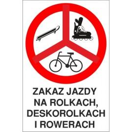 tabliczka zakaz jazdy ZJ01 Zakaz jazdy na rolkach, deskorolkach i rowerach