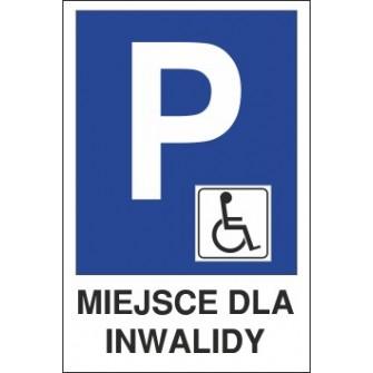 znak parking P20 miejsce dla inwalidy