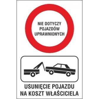 zakaz ruchu ZR01 nie dotyczy pojazdów uprawnionych usunięcie pojazdu