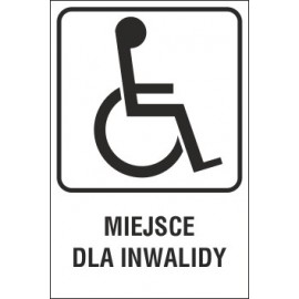 tabliczka - miejsce dla inwalidy MI02 miejsce dla inwalidy T-29
