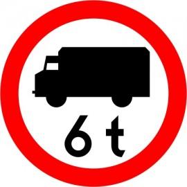 Naklejka B-5a Zakaz wjazdu poj. ciężarowych o dopuszczalnej masie większej, niż określono na znaku (tu- 6 t)