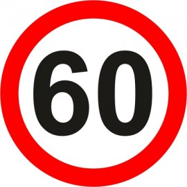 Naklejka znak zakazu B-33-60 ograniczenie prędkości (tu 60 km)