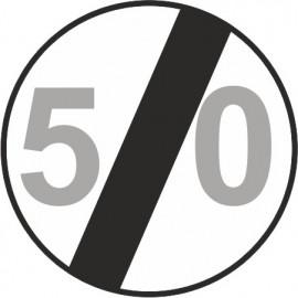 Naklejka znak zakazu B-34-50 koniec ograniczenia prędkości (tu 50 km)