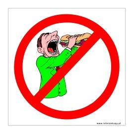 naklejka zakaz wchodzenia z jedzeniem -003