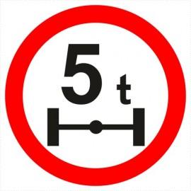 B-19 zakaz wjazdu pojazdów o nacisku osi większym niż określono na znaku (tu- 5t)