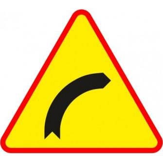 Naklejka znak ostrzegawczy A-1 Niebezpieczny zakręt w prawo