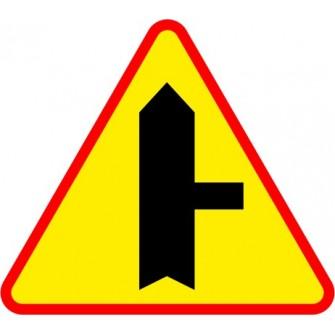Naklejka znak ostrzegawczy A-6b Skrzyżowanie z drogą podporządkowaną występującą po prawej stronie