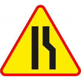 Naklejka znak ostrzegawczy A-12b Zwężenie jezdni - prawostronne