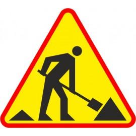 Naklejka znak ostrzegawczy A-14 Roboty na drodze