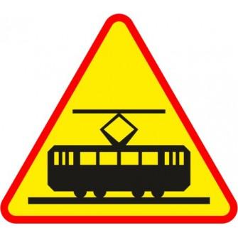 Naklejka znak ostrzegawczy A-21 Uwaga na tramwaj