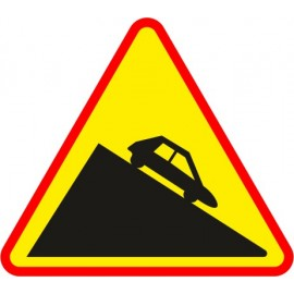 Naklejka znak ostrzegawczy A-22 Niebezpieczny zjazd