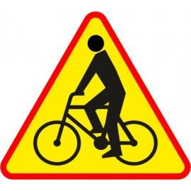 Naklejka znak ostrzegawczy A-24 Uwaga rowerzyści