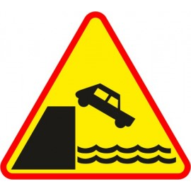 Naklejka znak ostrzegawczy A-27 Nabrzeże lub brzeg rzeki