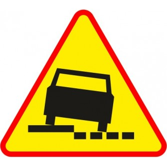 Naklejka znak ostrzegawczy A-31a Niebezpieczne pobocze po prawej stronie drogi