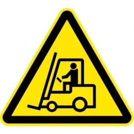 Naklejka znak ostrzegawczy Uwaga wózki widłowe 01
