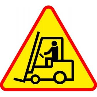 Naklejka znak ostrzegawczy Uwaga wózki widłowe 02