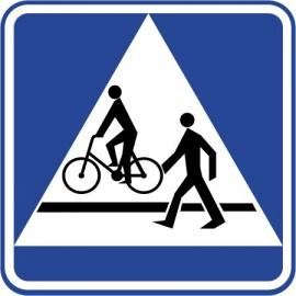 Naklejka znak informacyjny D-6b przejście dla pieszych i przejazd dla rowerzystów