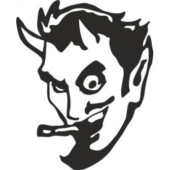 Naklejka wycinana N46 diabeł z papierosem