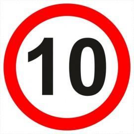 Znak drogowy B-33-10 ograniczenie prędkości (tu 10 km)