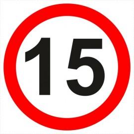 Znak drogowy B-33-15 ograniczenie prędkości (tu 15 km)