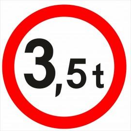 Naklejka znak zakazu B-18 zakaz wjazdu pojazdów o rzeczywistej masie całkowitej większej niż określono na znaku (tu- 3,5t)