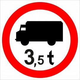 B-5a Zakaz wjazdu poj. ciężarowych o dopuszczalnej masie większej, niż określono na znaku (tu- 3,5 t)
