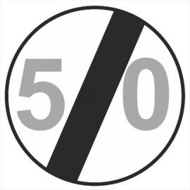 Znak drogowy B-34-50 koniec ograniczenia prędkości (tu 50 km)