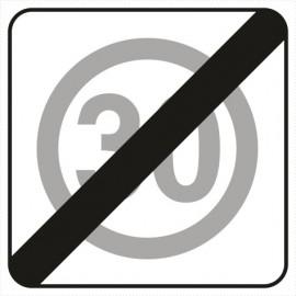 Znak drogowy B-44 koniec strefy ograniczonej prędkości (tu 30 km)