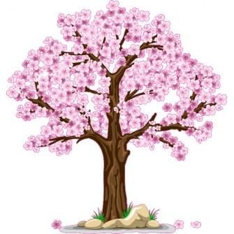 Naklejka ścienna - kolorowe drzewo SD05a drzewo wiosna