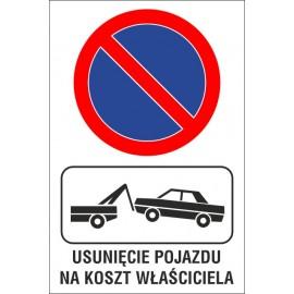 naklejka zakaz postoju ZP01 usunięcie pojazdu na koszt właściela