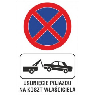 Naklejka zakaz zatrzymywania i postoju ZZP02 usuniecie pojazdu na koszt wlasciciela