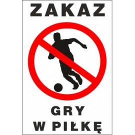 Naklejka zakaz gry w piłkę ZG01