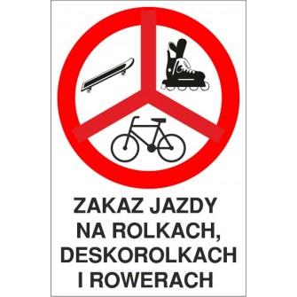 Naklejka zakaz jazdy ZJ01 Zakaz jazdy na rolkach, deskorolkach i rowerach
